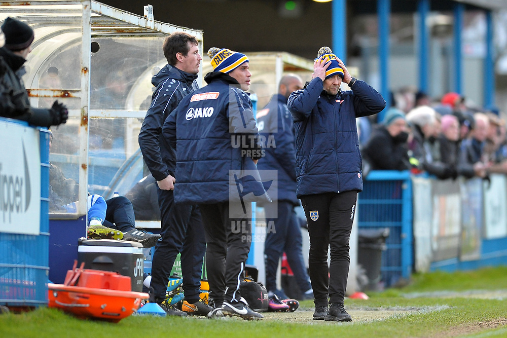 TELFORD COPYRIGHT MIKE SHERIDAN Russ O'Neill and Marcus Bignot in bobble hats during the Vanarama Conference North fixture between Guiseley and AFC Telford United at Nethermoor Park on Saturday, February 8, 2020.<br /> <br /> Picture credit: Mike Sheridan/Ultrapress<br /> <br /> MS201920-046<br /> <br /> Cold, Weather, winter, snow, postponement