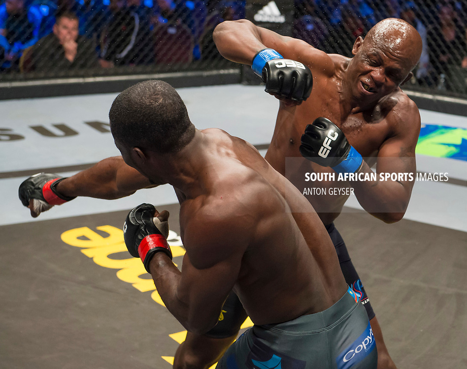 JOHANNESBURG, SOUTH AFRICA - MAY 13: (L-R) Kaleka Kabanda and Conrad Seabi in action during EFC 59 Fight Night at Carnival City on May 13, 2017 in Johannesburg, South Africa. (Photo by Anton Geyser/EFC Worldwide/Gallo Images)