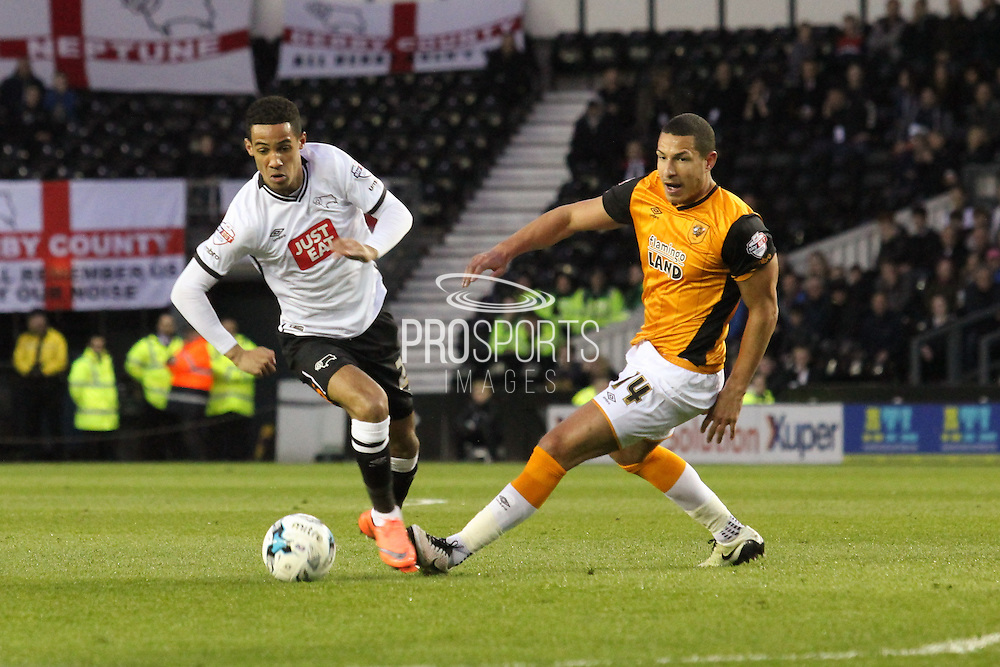 Derby midfielder Tom Ince wins the ball in midfield during the Sky Bet Championship match between Derby County and Hull City at the iPro Stadium, Derby, England on 5 April 2016. Photo by Aaron  Lupton.