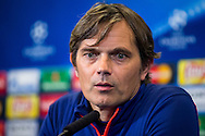 MADRID, persconferentie en training PSV en Atletico, voetbal Champions League, seizoen 2015-2016, 14-03-2016, Estadio Vicente Calderon, PSV coach Phillip Cocu.