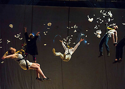 Performers from Volcano Theatre's Seagulls perform partly submerged in 45 tonnes of water in an interior lake filling St James church in Leith.<br /> <br /> Seagulls is an adaption of Chekov's The Seagull.<br /> <br /> Pictured L to R:   Elin Phillips, Neal McWilliam, Gethin Alderman