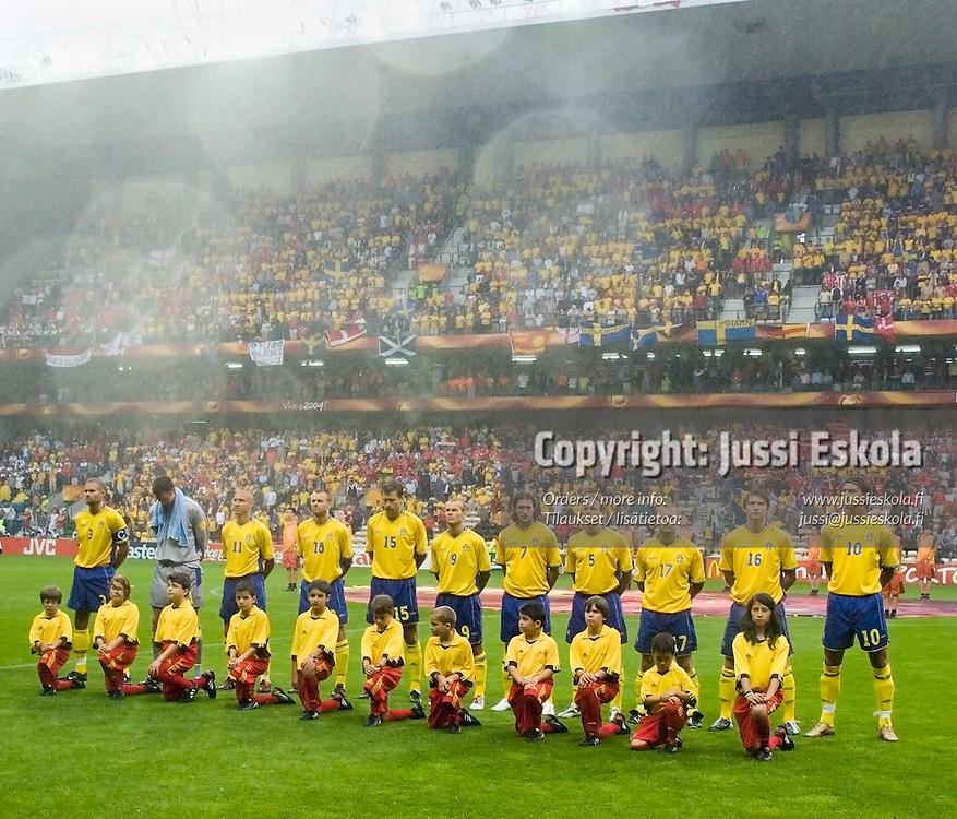 Swedish starting lineup v Denmark 22.6.2004.&amp;#xA;Euro 2004.&amp;#xA;Photo: Jussi Eskola<br />