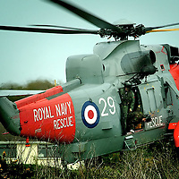 Royal Navy Sea King landing after performing exercise with the RNLI.<br />