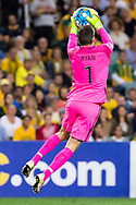 March 28 2017: Socceroos Mathew RYAN (1) saves the ball at the 2018 FIFA World Cup Qualification match, between The Socceroos and UAE played at Allianz Stadium in Sydney.