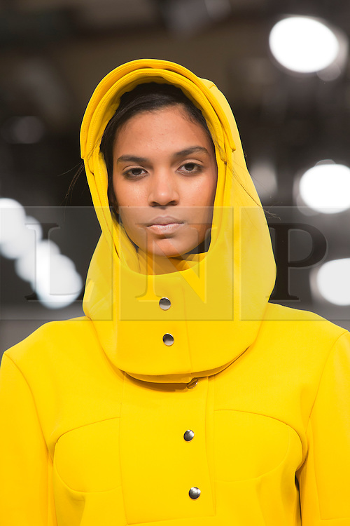 © Licensed to London News Pictures. 01/06/2015. London, UK. Collection by Pognat. Fashion show of Kingston University at Graduate Fashion Week 2015. Graduate Fashion Week takes place from 30 May to 2 June 2015 at the Old Truman Brewery, Brick Lane. Photo credit : Bettina Strenske/LNP