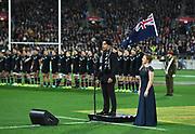 National anthem singers.<br /> All Blacks v France. Rugby Union. Steinlager Series, 2nd test match. Westpac Stadium, Wellington, New Zealand. Saturday 16 June 2018. &copy; Copyright photo: Andrew Cornaga / www.Photosport.nz