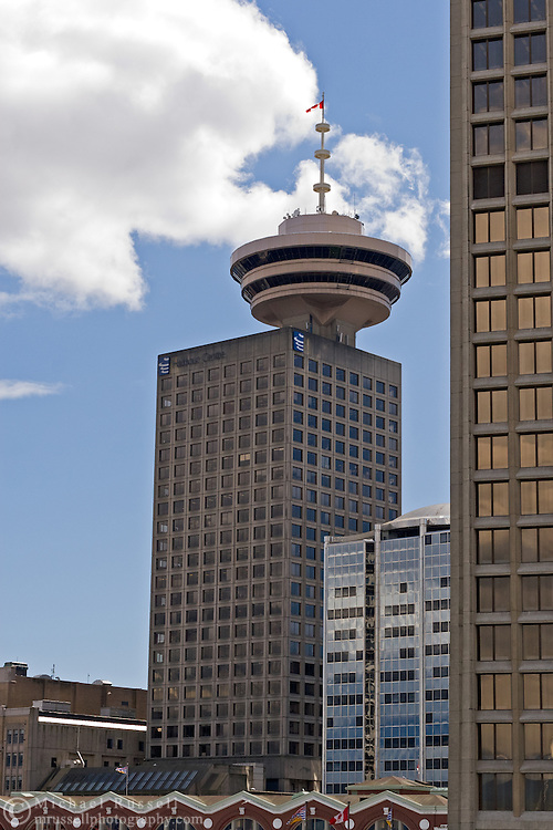 Downtown Vancouver's Harbour Centre houses a revolving restaurant, the downtown campus to Simon Fraser University and Harbour Centre Mall..
