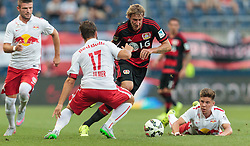 21.07.2015, Red Bull Arena, Salzburg, AUT, Testspiel, FC Red Bull Salzburg vs Bayer 04 Leverkusen, im Bild v.l.: Valon Berisha (FC Red Bull Salzburg), Andreas Ulmer (FC Red Bull Salzburg), Stefan Kiessling (Bayer 04 Leverkusen), Michael Brandner (FC Red Bull Salzburg) // during the International Friendly Football Match between FC Red Bull Salzburg and Bayer 04 Leverkusen at the Red Bull Arena in Salzburg, Austria on 2015/07/21. EXPA Pictures © 2015, PhotoCredit: EXPA/ JFK