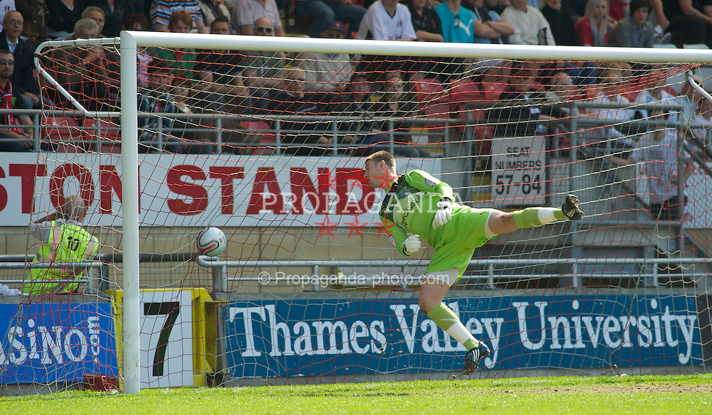 LONDON, ENGLAND - Saturday, April 30, 2011: Leyton Orient's Jamie Jones can do nothing as Tranmere Rovers' Aaron Cresswell (out of pic) scores from long range during the Football League One match at Brisbane Road. (Photo by Gareth Davies/Propaganda)
