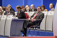 16 NOV 2003, BOCHUM/GERMANY:<br /> Wolfgang Clement (L), SPD, Bundeswirtschaftsminister, Olaf Scholz (M), SPD Generalsekretaer, und Gerhard Schroeder (R), SPD, Bundeskanzler,SPD Europadelegiertenkoferenz, Ruhr-Congress-Zentrum<br /> IMAGE: 20031116-01-001<br /> KEYWORDS: Parteitag, party congress, gerhard Schröder