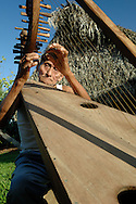 Elderly man, 78, plays a homemade, traditional harp outside his thathed hut in a Mayan village in southern Belize.