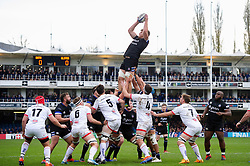 Josh McNally of Bath Rugby wins the ball at a lineout - Mandatory byline: Patrick Khachfe/JMP - 07966 386802 - 16/11/2019 - RUGBY UNION - The Recreation Ground - Bath, England - Bath Rugby v Ulster Rugby - Heineken Champions Cup