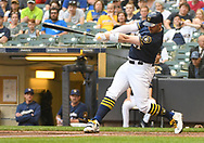 May 8, 2018 - Milwaukee, WI, U.S. - MILWAUKEE, WI - MAY 08: Milwaukee Brewers Third base Travis Shaw (21) hits a 2-run home run in the bottom of the 1st during a MLB game between the Milwaukee Brewers and Cleveland Indians on May 8, 2018 at Miller Park in Milwaukee, WI.(Photo by Nick Wosika/Icon Sportswire) (Credit Image: © Nick Wosika/Icon SMI via ZUMA Press)