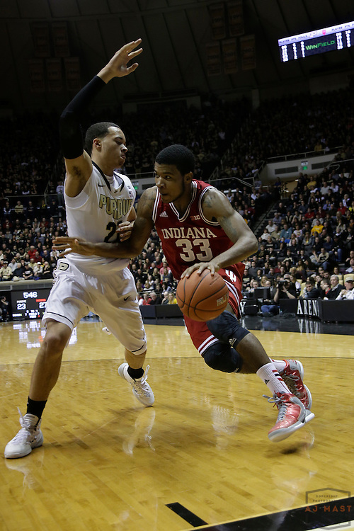 15 February 2014: Indiana Forward Jeremy Hollowell (33) as the Indiana Hoosiers played the Purdue Boilermakers in a college basketball game in West Lafayette, Ind.