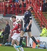 Dundee's Craig Beattie and Hamilton Academical's Lee Kilday - Hamilton v Dundee, SPFL Championship at <br /> New Douglas Park<br /> <br />  - &copy; David Young - www.davidyoungphoto.co.uk - email: davidyoungphoto@gmail.com