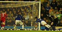 Photo: Aidan Ellis.<br /> Everton v Dinamo Bucuresti. UEFA Cup. 29/09/2005.<br /> Everton's Tim Cahill score asecond but it is disallowed