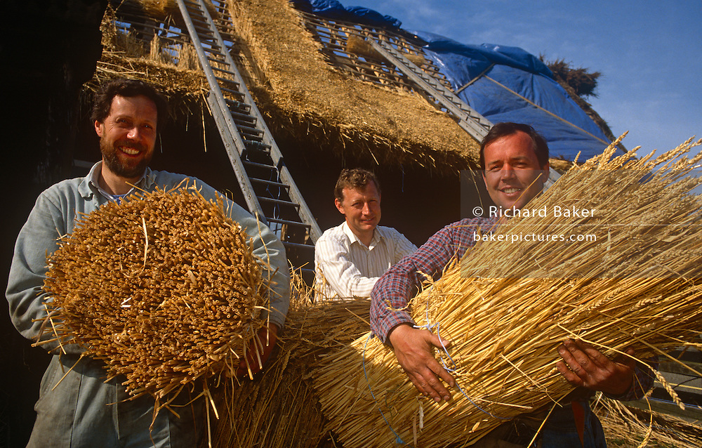 Using techniques developed over thousands of years, a portrait of traditional thatchers with straw for a barn roof in Suffolk, England. In England a ridge will normally last 10–15 years. Thatching is the craft of building a roof with dry vegetation such as straw, water reed, sedge (Cladium mariscus), rushes and heather, layering the vegetation so as to shed water away from the inner roof. It is a very old roofing method and has been used in both tropical and temperate climates. Thatch is still the choice of affluent people who desire a rustic look for their home or who have purchased an originally thatched abode.