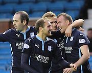 David Clarkson is congratulated after scoring by Greg Stewart, Gary Harkins, and Martin Boyle - Kilmarnock v Dundee - Dundee v Celtic SPFL Premiership at Dens Park<br /> <br />  - &copy; David Young - www.davidyoungphoto.co.uk - email: davidyoungphoto@gmail.com