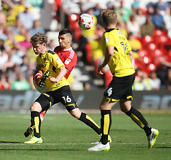 Eric Lichaj of Nottingham Forest (C) and Matt Palmer of Burton Albion in action - Mandatory by-line: Jack Phillips/JMP - 06/08/2016 - FOOTBALL - The City Ground - Nottingham, England - Nottingham Forest v Burton Albion - EFL Sky Bet Championship