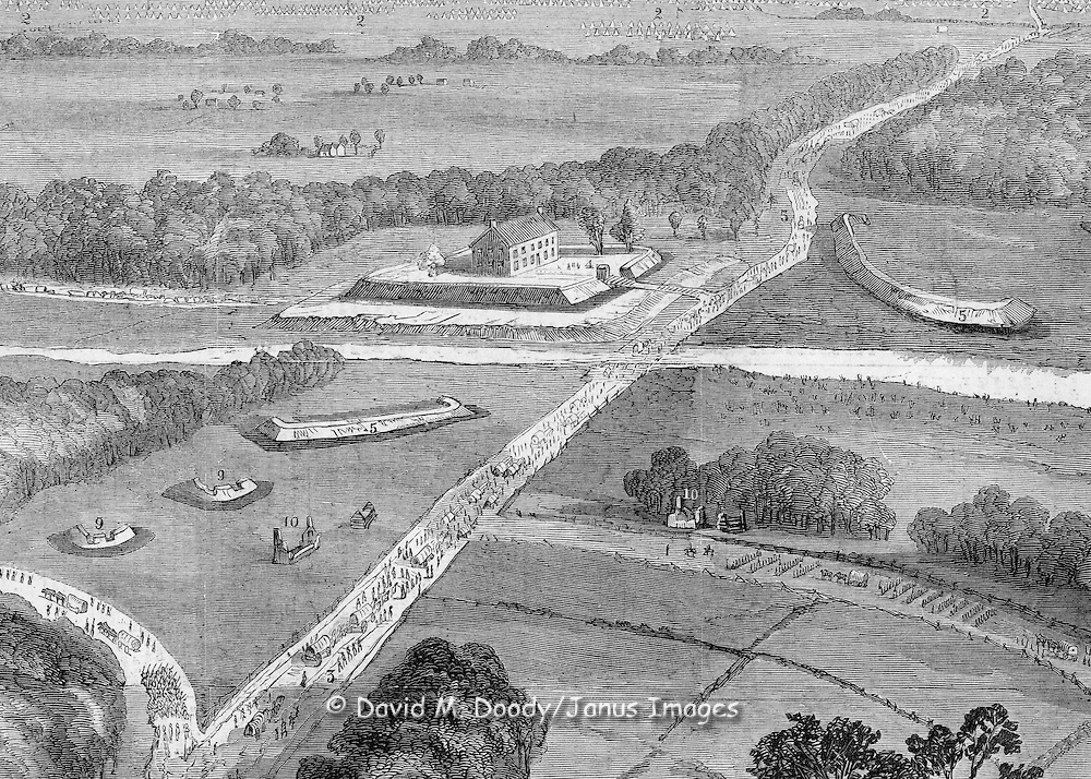 """Civil War: Virginia  Harper's Weekly  April 26, 1862  Big Bethel and Yorktown, Virginia. Union forces in the Peninsula Campaign . THE FIRST DAY'S FIRING AT YORKTOWN, APRIL, 1862.--SKETCHED BY AN OFFICER OF THE TOPOGRAPHICAL ENGINEERS.--[SEE PAGE 262.]..--REFERENCES--1. Yorktown.--2. Four Batteries of 21 Guns, 32 and 42 Pounders, and Columbiads.--3. Columbiads.--4. Two Rifled Guns.--5. Infantry Attack.--6. Left Wing.--7. Road from Williamsburg.--8. Major-General Couch's Command.--9. Brigadier General Smith's Command, three Brigades.--10. Brigadier-General Casey's Command, three Brigades.--11. General Butterfield's Advance Corps de Armee, centre.--12. Head-Quarters of Major-General McClellan and Staff.--13. General Sykes's Reserve Regulars, one Brigade.--14. Major-General Heintzelman's Command; Brigadier-General Porter's Advance, one Brigade; Brigadier-General Sedgwick, four Brigades; Brigadier-General Hamilton, four Brigades.--15. Masked Battery of Dahlgren Guns.--16. Seven United States Gun-boats.--17. """"Naugatuck.""""--18. General Porter's Advance of the Right Wing.--19. Battery of 18 guns.--20. Gloucester.--21. Rebel Regiments.--22. Rebel Vessels.--NOTE. General Keyes, with his Brigade, stationed on Mulberry Island.."""