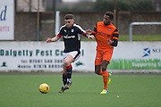 Dundee's Kerr Waddell and Dundee United trialist Felitciano Zschusschen - Dundee v Dundee United in the SPFL Development League at Links Park, Montrose. Photo: David Young<br /> <br />  - &copy; David Young - www.davidyoungphoto.co.uk - email: davidyoungphoto@gmail.com