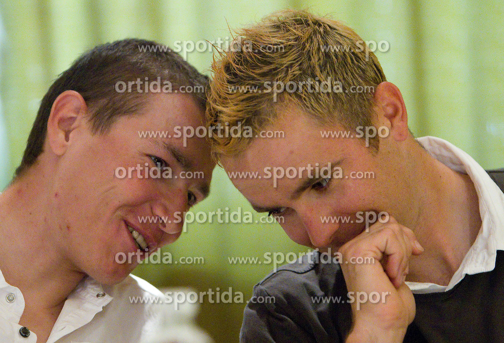 Slovenian riders Jani Brajkovic of Team RadioShack and Borut Bozic of Vacansoleil at press conference before cycling race Tour de France 2011, on June 27, 2011, in Crnuce, Ljubljana, Slovenia. (Photo by Vid Ponikvar / Sportida)