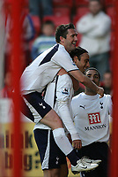 Photo: Lee Earle.<br /> Charlton Athletic v Tottenham Hotspur. The Barclays Premiership. 07/05/2007.Tottenham's Robbie Keane (L) celebrates with Dimitar Berbatov after he scored their opening goal.