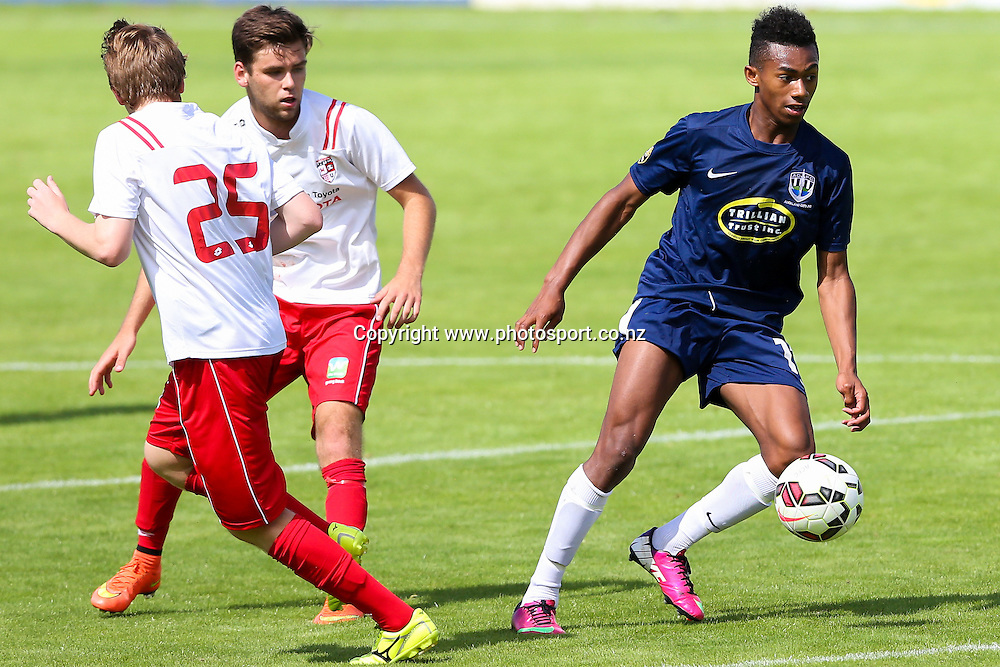 Auckland City's Maro Bonsu-Maro in action. ASB Youth League, Auckland City v Waitakere United, Kiwitea Street, Auckland, Sunday 21st November 2014. Photo: David Joseph / www.photosport.co.nz