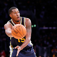 19 October 2014: Utah Jazz center Derrick Favors (15) passes the ball during the Los Angeles Lakers 98-91 victory over the Utah Jazz, in a preseason game, at the Staples Center, Los Angeles, California, USA.