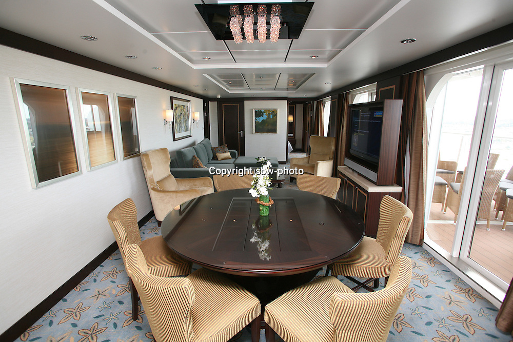 The launch of Royal Caribbean International's Oasis of the Seas, the worlds largest cruise ship..Staterooms.Presidential suite, living room