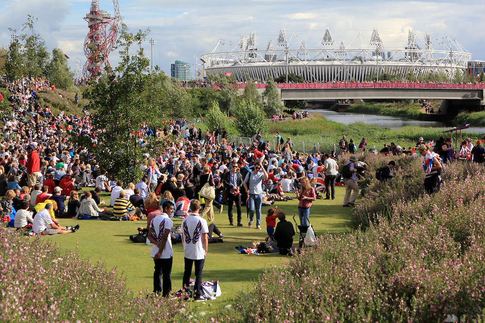 Crowds of spectators enjoying Park Live events in the Olympic Park at London 2012