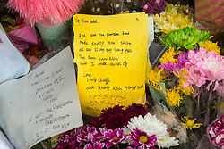 "© Licensed to London News Pictures. 28/03/2018. Liverpool, UK. A note from Knotty Ash Primary School pupil Harry O'Keeffe which reads "" You was the pearson how made Knotty Ash shine "" [sic] . Rows of flowers and tributes left outside Ken Dodd's lifetime home in Knotty Ash on the morning of the funeral of comedian and performer Sir Ken Dodd , who died on 11th March 2018 at the age of 90 . Photo credit: Joel Goodman/LNP"
