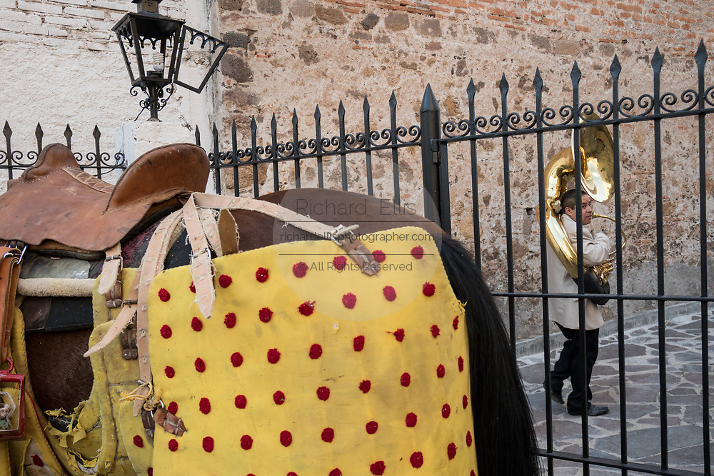 A Mexican tuba player stands near the Picador horses at the Plaza de Toros in San Miguel de Allende, Mexico. Picadors ride horses surrounded by a peto, a mattress-like protection that greatly minimizes damage to the animal during the bullfight.