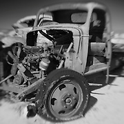 Gutted Green Truck - Pearsonville, CA - Lensbaby - Infrared Black & White