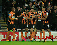 Ahmed Elmohamady (2nd left) of Hull City celebrates his goal with his team mates to make it 1-0 during the Barclays Premier League match at KC Stadium, Hull<br /> Picture by Richard Gould/Focus Images Ltd +44 7855 403186<br /> 01/01/2015