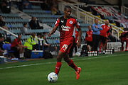 Lewis Young on the ball during the Capital One Cup match between Peterborough United and Crawley Town at London Road, Peterborough, England on 11 August 2015. Photo by Michael Hulf.