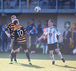 Alloa Athletic's Graeme Holmes and Hearts Jamie Walker.<br /> Alloa Athletic 0 v 1 Hearts, Scottish Championship played at Recreation Park, Alloa.