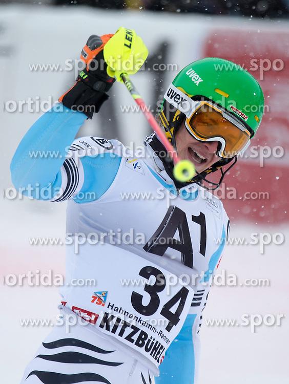 25.01.2015, Ganslernhang, Kitzbuehel, AUT, FIS Ski Weltcup, Slalom Slalom, Herren, 2. Lauf, im Bild Linus Strasser (GER) // Linus Strasser of Germany reacts after his 2nd run of the men's Slalom of Kitzbuehel FIS Ski Alpine World Cup at the Ganslernhang Course in Kitzbuehel, Austria on 2015/01/25. EXPA Pictures © 2015, PhotoCredit: EXPA/ Johann Groder