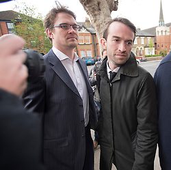 © London News Pictures. 23/04/2012. Feltham, UK. Trenton Oldfield (right) arriving at Feltham Magistrates' Court in West London, where he is charged under the Public Order Act after he allegedly swam out into the Thames during the The boat race between Oxford and Cambridge. The incident forced the boats to stop and re-start from the halfway point.  Photo credit : Ben Cawthra /LNP