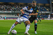 Swansea City midfielder Matt Grimes (8) battles for possession  with Queens Park Rangers midfielder Ilias Chair (19) during the EFL Sky Bet Championship match between Queens Park Rangers and Swansea City at the Kiyan Prince Foundation Stadium, London, England on 21 August 2019.