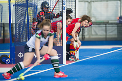 University of Birmingham line up to defend a penalty corner. University of Birmingham v Surbiton - Semi-Final - Investec Women's Hockey League Finals, Lee Valley Hockey & Tennis Centre, London, UK on 22 April 2017. Photo: Simon Parker