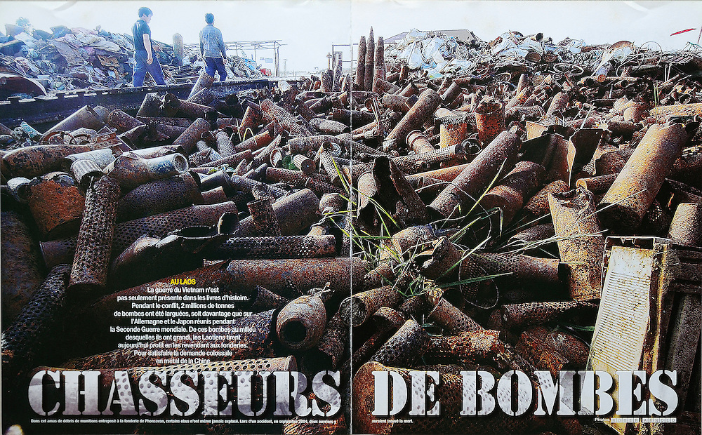 "Paris Match - Post conflict Laos showing the left over effects of the massive US bombing campaign during the ""Secret War."""