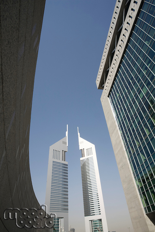 UAE Dubai Emirates Towers from the Dubai International Financial Centre