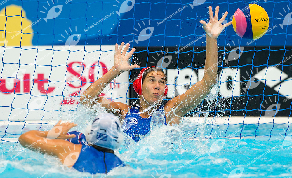 GRE vs RUS<br /> Greece (White) - Russia (Blue)<br /> 5 th - 8th<br /> KOUVDOU Eleni GRE<br /> Day 13 05/08/2015<br /> Waterpolo Women<br /> XVI FINA World Championships Aquatics<br /> Kazan Tatarstan RUS July 24 - Aug. 9 2015 <br /> Photo Pasquale Mesiano/Deepbluemedia/Insidefoto