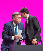 © Licensed to London News Pictures. 22/09/2014. Manchester, UK. Ed Balls, Ed Miliband leave the stage. Labour Party Conference 2014 at the Manchester Convention Centre today 22 September 2014. Photo credit : Stephen Simpson/LNP