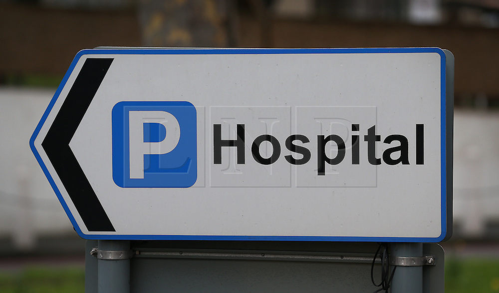 © Licensed to London News Pictures. 09/01/2016. A sign points the way to a hospital car park.  A recent survey found that as many as 90 hospital trusts were making more than a million pounds per year from parking charges.  Photo credit: Peter Macdiarmid/LNP