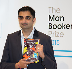 Royal Festival Hall, London, October 12th 2015. Man Booker Prize for Fiction Finalists gather at the Royal Festival Hall on the eve of the £50,000 prize winner's announcement. PICTURED: British writer Sunjeev Sahota, author of The Year of the Runaways published by Picador.