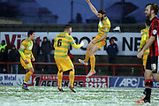 Darren Ward celebrates during the Sky Bet League 2 match between Morecambe and Yeovil Town at the Globe Arena, Morecambe, England on 16 January 2016. Photo by Pete Burns.