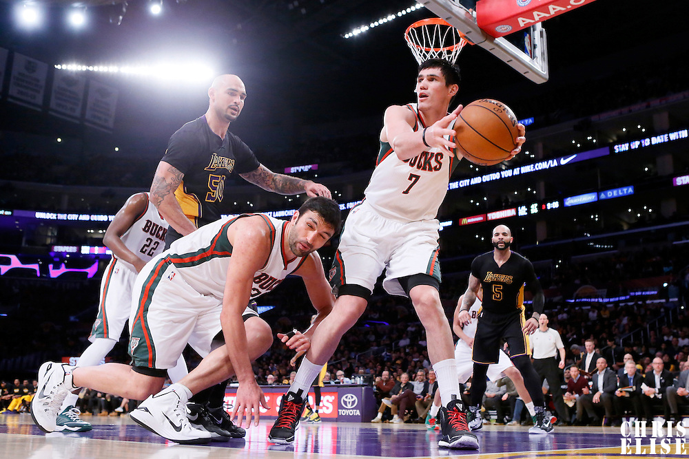 27 February 2015: Milwaukee Bucks forward Ersan Ilyasova (7) reaches for the ball during the Los Angeles Lakers 101-93 victory over the Milwaukee Bucks, at the Staples Center, Los Angeles, California, USA.