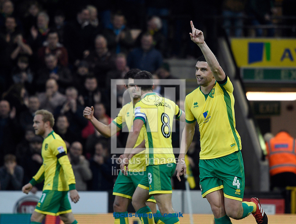 Graham Dorrans of Norwich City celebrates against Brentford during the Sky Bet Championship match at Carrow Road, Norwich<br /> Picture by Matthew Usher/Focus Images Ltd +44 7902 242054<br /> 03/12/2016